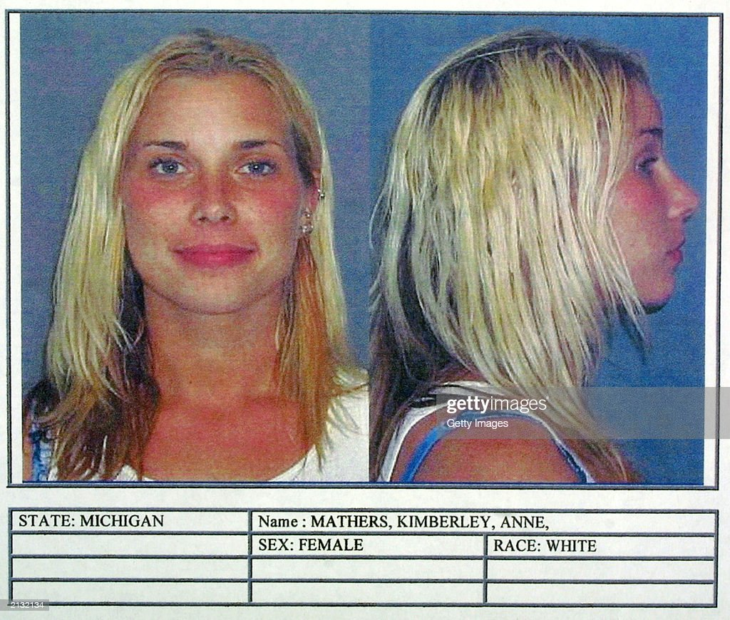 Kim Mathers, Eminem's ex-wife, is pictured in a police mug shot obtained July 2, 2003 from the St. Clair Shores Police Department in St. Clair Shores, Michigan. Mathers was arraigned July 1 on charges of possession of a controlled substance of less than 25 grams, driving with license suspended, revoked, or denied, and failure to use due care while passing a stationary emergency vehicle.