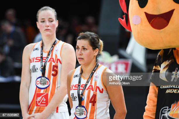 Kim Mestdagh and Amel Bouderra of Charleville Mezieres looks dejected during the women's Final of the French Cup between Charleville Mezieres and...