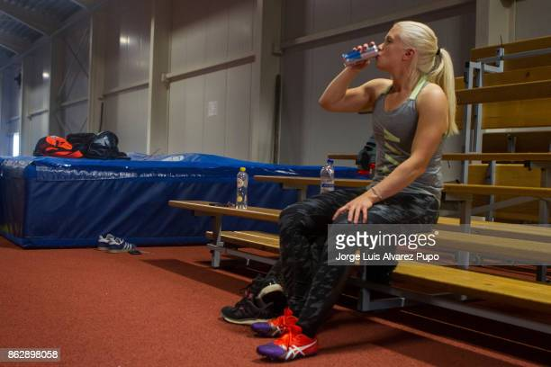 Kim Meylemans of Belgium Skelreton Olympic team drinks an energetic beverage during a training session at the Sport centre in HeusdenZolder on...