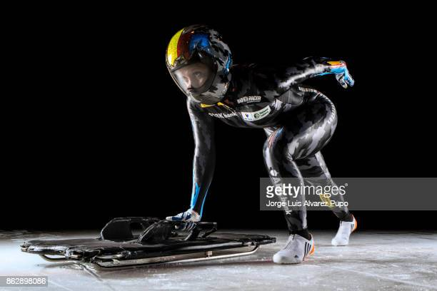 Kim Meylemans of Belgium Skelreton Olympic team poses during a portrait session at the Sport centre in HeusdenZolder on October 12 2017 in Limburg...