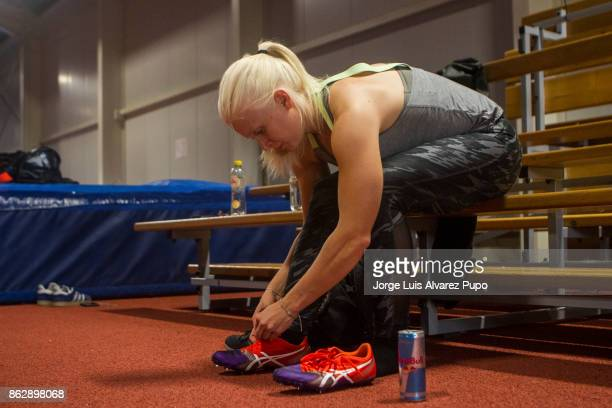 Kim Meylemans of Belgium Skelreton Olympic team warms up during a training session at the Sport centre in HeusdenZolder on October 12 2017 in Limburg...