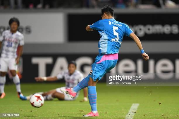 Kim Min Hyeok of Sagan Tosu scores his side's second goal during the JLeague J1 match between Sagan Tosu and Ventforet Kofu at Best Amenity Stadium...