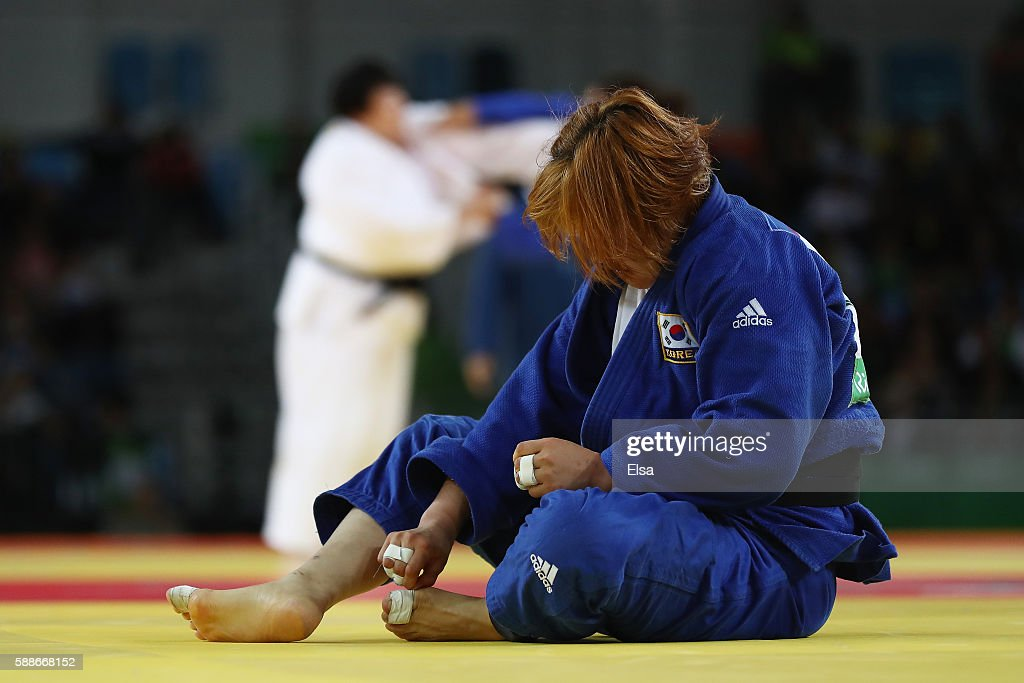 Kim Minjeong of South Korea reacts during the Women's 78kg Judo contest against Idalys Ortiz of Cuba on Day 7 of the Rio 2016 Olympic Games at...