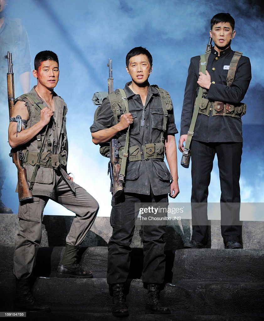 Kim Moo-Yul, Ji Hyun-Woo and Jung Tae-Woo perform during the musical 'The Promise' press call at the National Theater of Korea Main Hall 'Hae' on January 8, 2013 in Seoul, South Korea.
