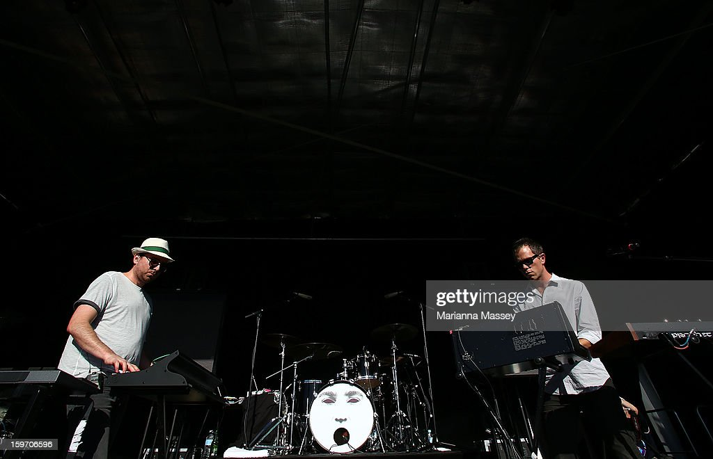 Kim Moyes and Julian Hamilton of the Presets perform live at the Heineken Live Stage during day six of the 2013 Australian Open at Melbourne Park on January 19, 2013 in Melbourne, Australia.