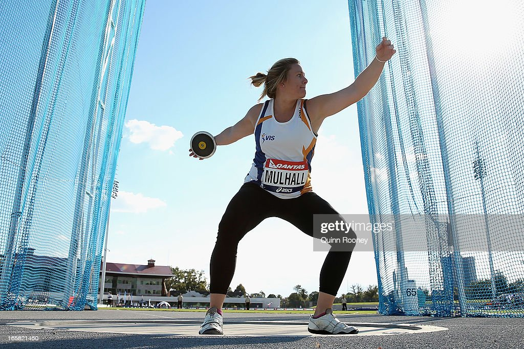 Kim Mulhall of Australia throws in the Women's Discus during the 2013 Melbourne Track Classic at Olympic Park on April 6, 2013 in Melbourne, Australia.