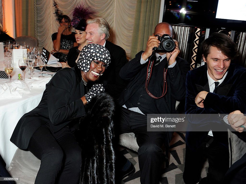 Kim Murdoch, Philip Treacy, Grace Jones, Michael Roberts and Tara Ferry attend the Isabella Blow: Fashion Galore! charity dinner hosted by the Isabella Blow Foundation at Claridges Hotel on November 19, 2013 in London, England.