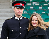 Kim Murray and her brother Junior Under Officer Scott Sears pose for a photographer after he took part in the Sovereign's Parade at the Royal...