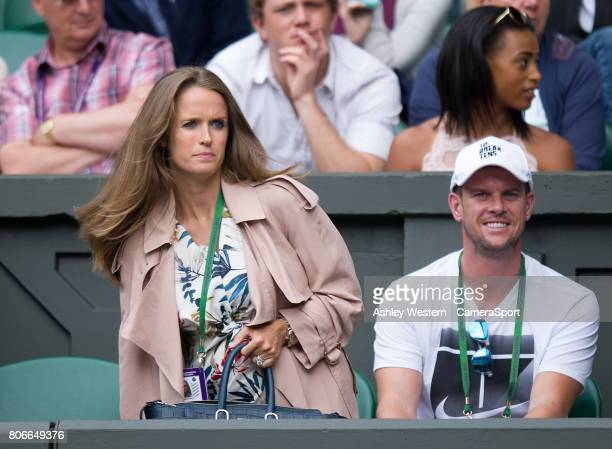 Kim Murray in attendance to watch husband Andy's match against Alexander Bublik at All England Lawn Tennis and Croquet Club on July 3 2017 in London...
