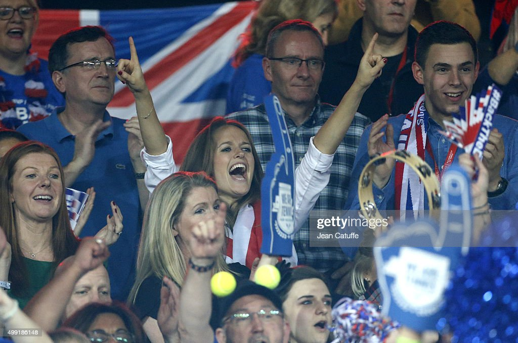 Kim Murray, wife of Andy Murray celebrates the victory of Great Britain after Andy won over David Goffin of Belgium during day three of the Davis Cup Final 2015 between Belgium and Great Britain at Flanders Expo on November 29, 2015 in Ghent, Belgium.