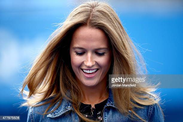 Kim Murray wife of Andy Murray of Great Britain watches his men's singles semifinal match against Viktor Troicki of Serbia during day seven of the...