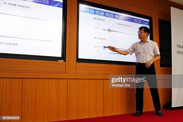 Kim Nam Ouk Director General for Earthquake and Volcano briefs the seismic waves that were measured in South Korea at the Earthquake and Volcano...