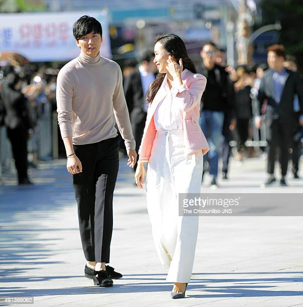 Kim NamGil and Jeon DoYeon attend the greeting session for the movie 'The Shameless' at BIFF Village on October 2 2015 in Busan South Korea