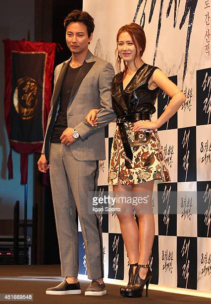 Kim NamGil and Son YeJin attends the movie 'Pirates' press conference at Nine Tree Convention on July 2 2014 in Seoul South Korea