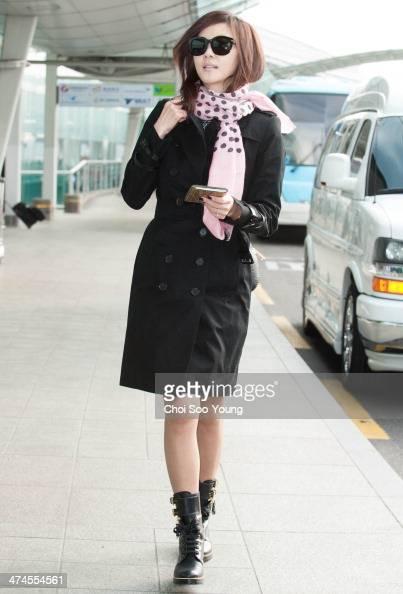 Kim NamJoo is seen at Incheon International Airport on February 18 2014 in Incheon South Korea