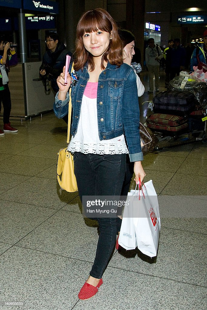 Kim Nam-Joo of South Korean girl group A Pink is seen upon arrival at Incheon International Airport on March 17, 2013 in Incheon, South Korea.