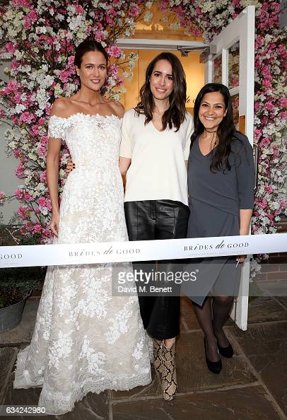 Kim Nayar Louise Roe and Chantal Khoueiry attend the Brides do Good first popup boutique launch which runs from 9th19th February at Bicester Village...