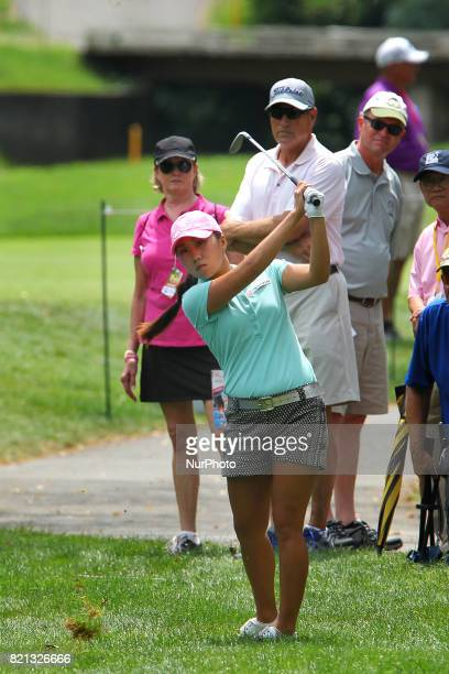 IK Kim of Korea hits from the rough to the 2nd green during the final round of the Marathon LPGA Classic golf tournament at Highland Meadows Golf...
