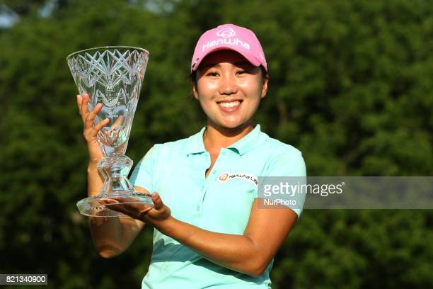 IK Kim of Korea holds the trophy after winning the tournament during the final round of the Marathon LPGA Classic golf tournament at Highland Meadows...