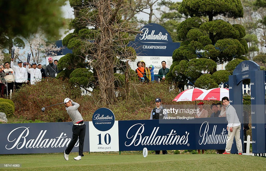 KT Kim of Korea in action during the first round of the Ballantine's Championship at Blackstone Golf Club on April 25, 2013 in Icheon, South Korea.