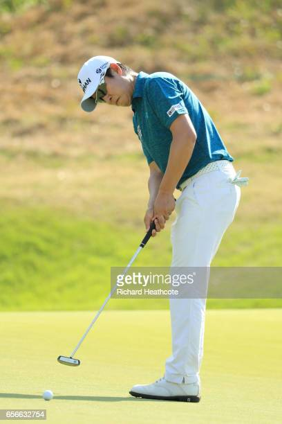 T Kim of Korea putts on the 16th hole of his match during round one of the World Golf ChampionshipsDell Technologies Match Play at the Austin Country...