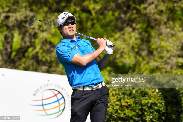 T Kim of Korea reacts to his tee shot on the 17th hole during round two of the World Golf Championships Dell Technologies Match Play at Austin...