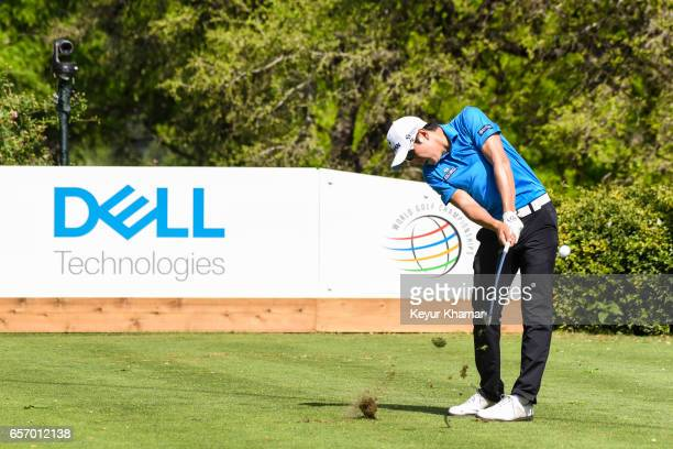 T Kim of Korea tees off on the 17th hole during round two of the World Golf Championships Dell Technologies Match Play at Austin Country Club on...