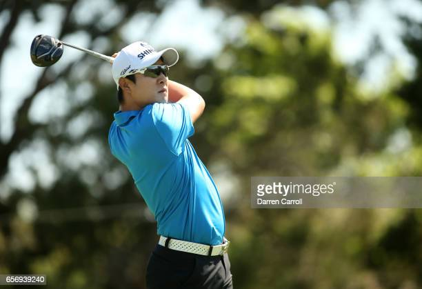 T Kim of Korea tees off on the 2nd hole of his match during round two of the World Golf ChampionshipsDell Technologies Match Play at the Austin...