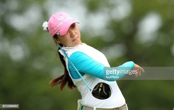 IK Kim of Korea tees off on the 5th tee during the second round of the Marathon LPGA Classic golf tournament at Highland Meadows Golf Club in...