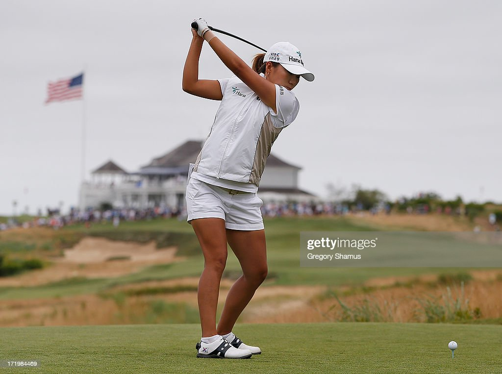 I.K. Kim of South Korea hits her drive on the second hole during the final round of the 2013 U.S. Women's Open at Sebonack Golf Club on June 30, 2013 in Southampton, New York.