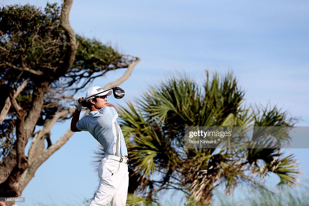 K.T. Kim of South Korea hits off the seventh tee during Round One of the 94th PGA Championship at the Ocean Course on August 9, 2012 in Kiawah Island, South Carolina.