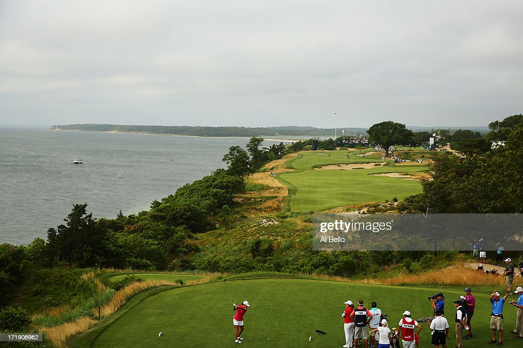 I.K. Kim of South Korea hits the ball on the eighteenth tee during the third round of the 2013 U.S. Women's Open at Sebonack Golf Club on June 29, 2013 in Southampton, New York.