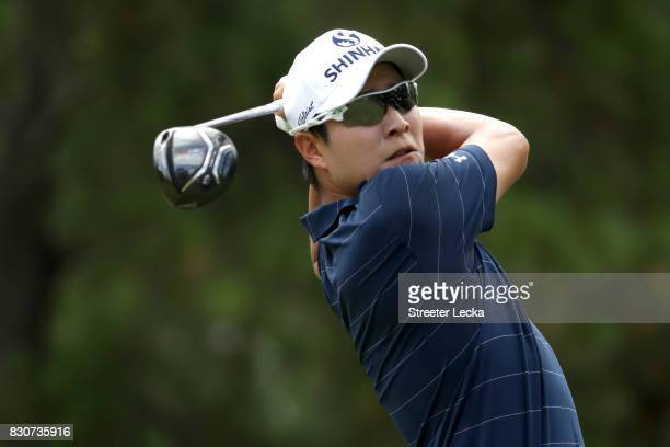 T Kim of South Korea plays his shot from the third tee during the third round of the 2017 PGA Championship at Quail Hollow Club on August 12 2017 in...