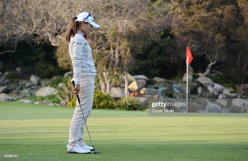 I.K. Kim of South Korea reacts to her missed birdie putt on the 18th hole, first playoff during the Final Round of the LPGA 2013 Kia Classic at the Park Hyatt Aviara Resort on March 24, 2013 in Carlsbad, California.
