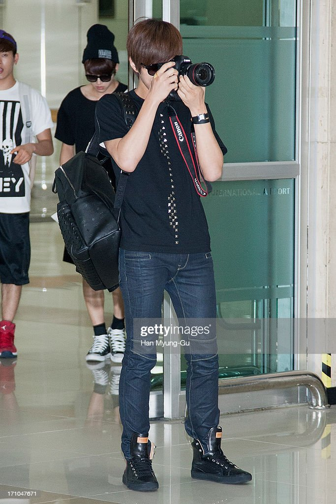 L. Kim of South Korean boy band Infinite is seen upon arrival at Gimpo International Airport on June 21, 2013 in Seoul, South Korea.