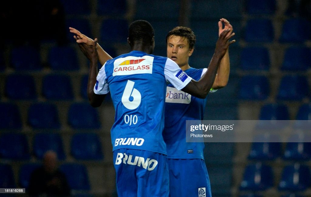 Kim Ojo of Krc Genk - Jelle Vossen of Krc Genk in action during the Cofidis Cup match between KRC Genk and AFC Tubize on September 25, 2013 in Genk, Belgium.