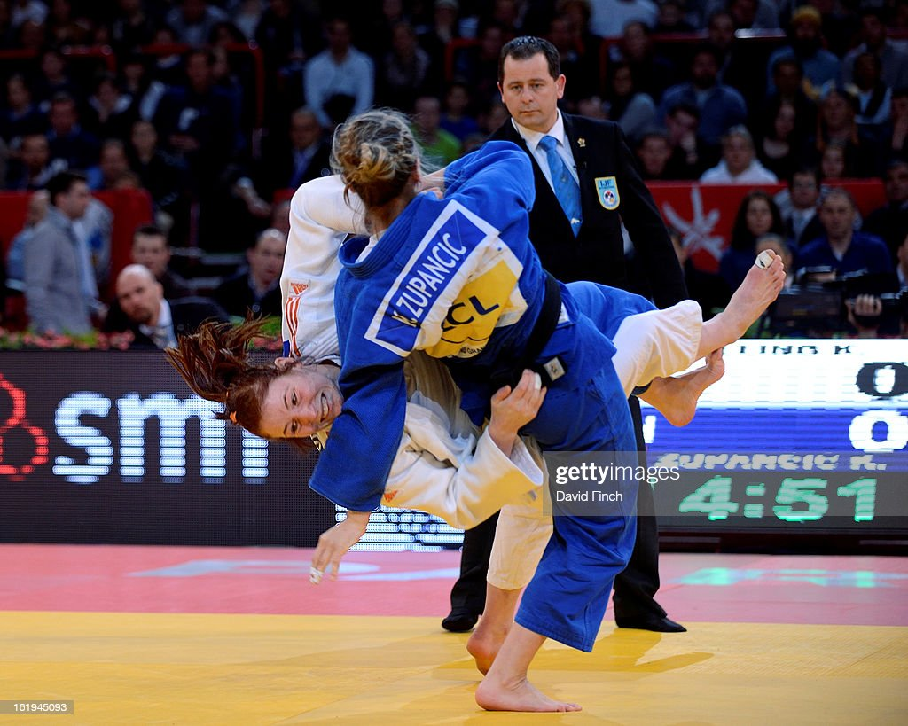 Kim Polling from Holland (white) attacks Kelita Zupancic from Canada during their u70kgs final match during the Paris Grand Slam on day 2, Sunday, February 10, 2013 at the Palais Omnisports de Paris, Bercy, Paris, France.