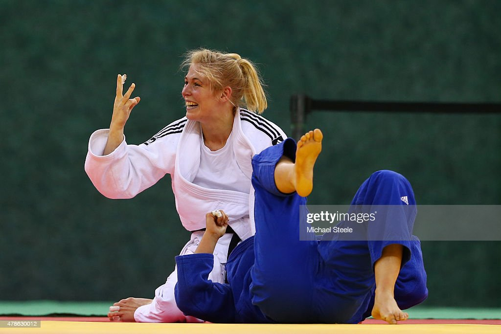 Kim Polling of Netherlands celebrates winning the gold medal in the Women's 70kg gold medal match against Laura Vargas Koch of Germany during day...