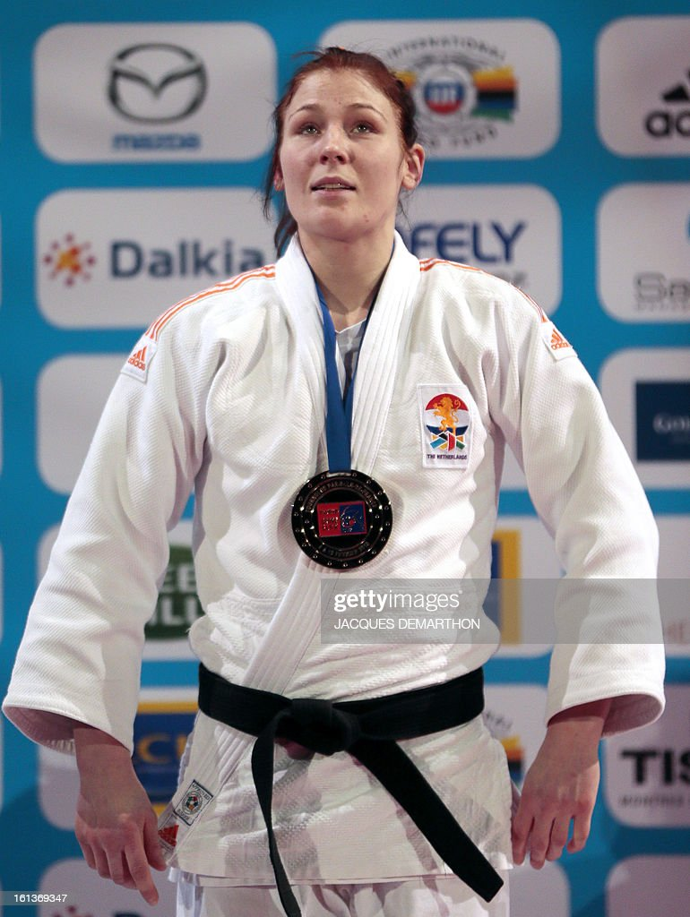 Kim Polling of the Netherlands poses on the podium on February 10, 2013 after winning the Women -70Kg final of the Paris International Judo tournament, part of the Grand Slam, at the Palais Omnisports de Paris-Bercy (POPB) in Paris.