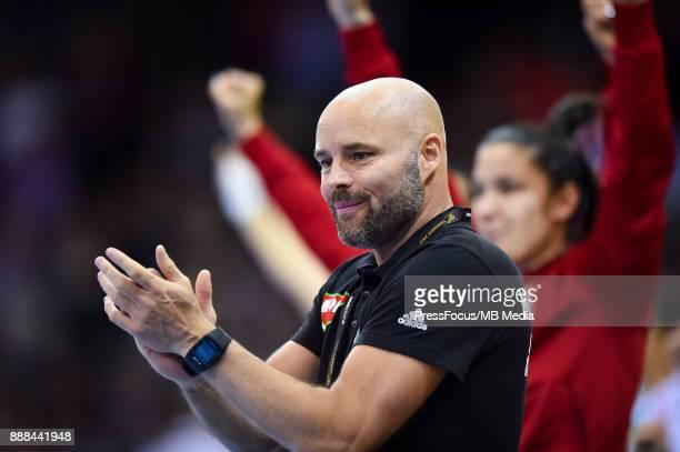 Kim Rasmussen head coach of Hungary celebrates goal during IHF Women's Handball World Championship group B match between Czech Republic and Hungary...