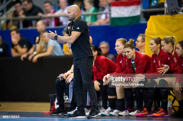 Kim Rasmussen head coach of Hungary reacts during IHF Women's Handball World Championship group B match between Czech Republic and Hungary on...