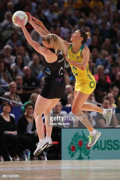 Kim Ravaillion of Australia and Shannon Francois of New Zealand compete for the ball during the 2017 Constellation Cup match between the Australian...