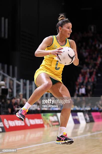 Kim Ravaillion of Australia looks at her options during the International netball Test match between the New Zealand Silver Ferns and the Australian...
