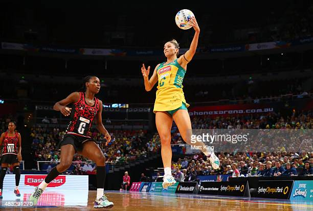 Kim Ravaillion of the Diamonds catches the ball during the 2015 Netball World Cup match between Australia and Trinidad Tobago at Allphones Arena on...