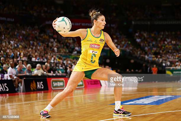 Kim Ravaillion of the Diamonds catches the ball uring the International Netball Test match between the New Zealand Silver Ferns and the Australian...