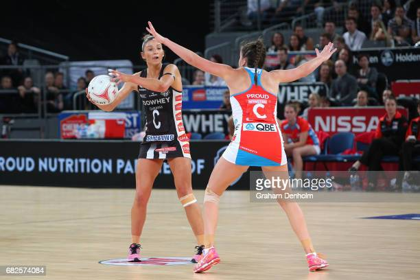 Kim Ravaillion of the Magpies looks to pass during the round 12 Super Netball match between the Magpies and the Swifts at Hisense Arena on May 13...
