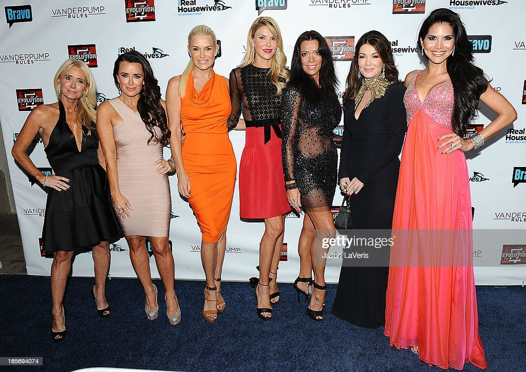 Kim Richards, Kyle Richards, Yolanda H. Foster, Brandi Glanville, Carlton Gebbia, Lisa Vanderpump and Joyce Giraud de Ohoven attend the 'The Real Housewives of Beverly Hills' and 'Vanderpump Rules' premiere party at Boulevard3 on October 23, 2013 in Hollywood, California.