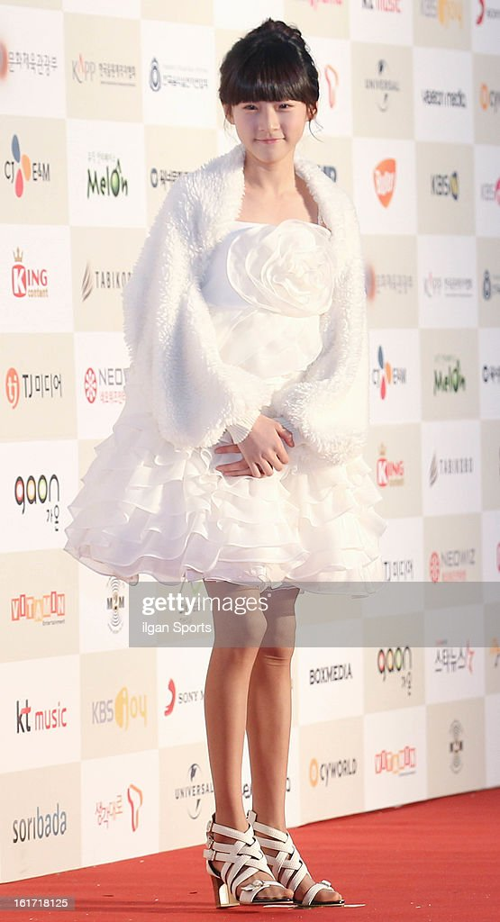 Kim Sae-Ron poses for photographs upon arrival during '2nd Gaonchart K-pop Awards' at Olympic Hall on February 13, 2013 in Seoul, South Korea.