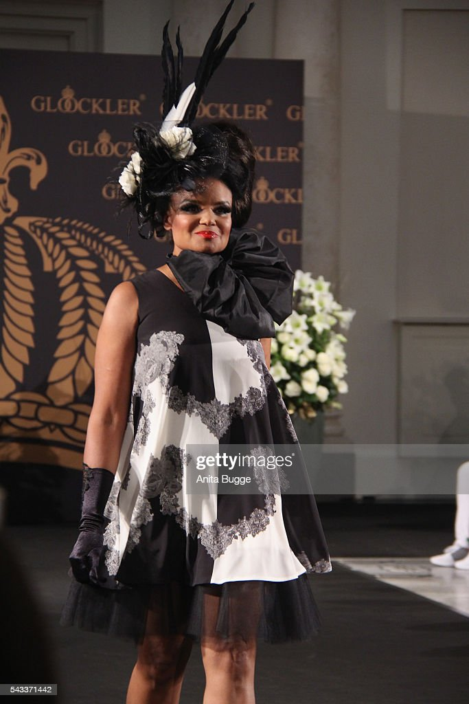 Kim Sanders walks the runway during the fashion staging of the fairy tale 'Die zertanzten Schuhe' by Harald Gloeoeckler at Hotel de Rome on June 27, 2016 in Berlin, Germany.