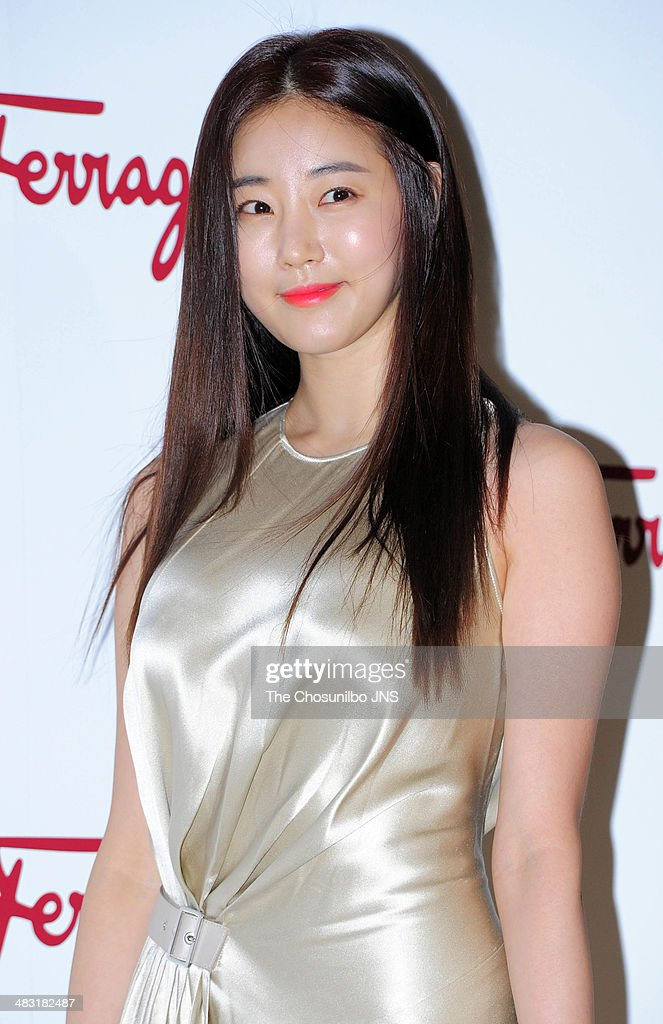 Kim SaRang poses for photographs during the LIcona Ferragamo launching event at Beyond Museum on April 3 2014 in Seoul South Korea